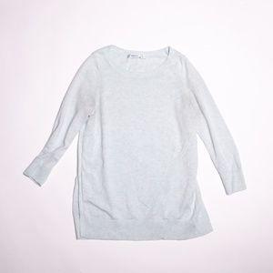 Sparkly slit side 3/4 sleeve sweater